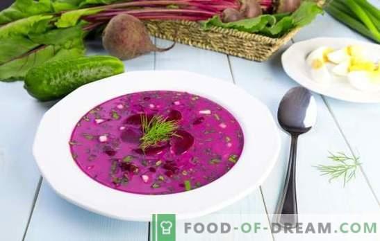 Okroshka com beterraba - um almoço refrescante em tempo quente. As melhores receitas de hash de beterraba em kvass ou kefir