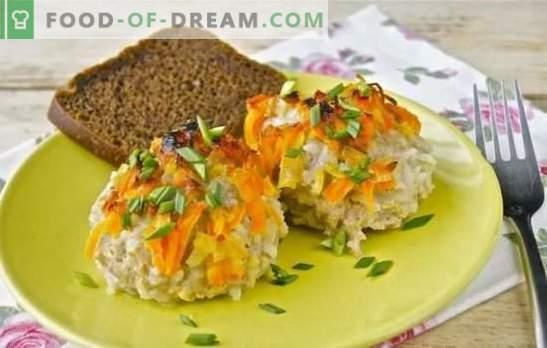 Ouriços de carne picada com arroz em uma panela - simples e original. Receitas de ouriço feitas de carne picada com arroz em uma panela com molho cremoso de carne e vegetais