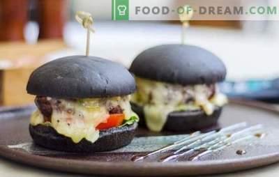 Pão preto - a tendência real desta estação! Receitas de pães pretos para hambúrgueres em leite, água, iogurte com fermento e ríperes