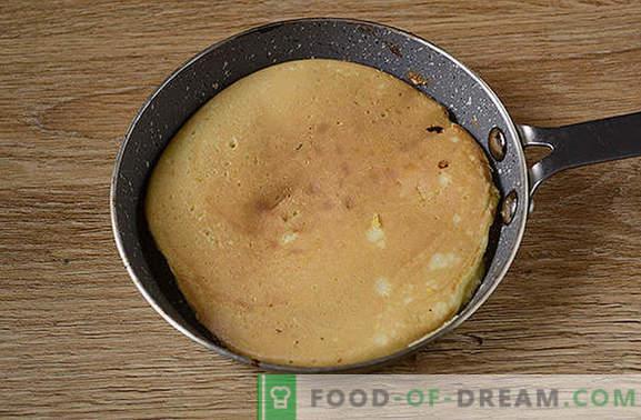 Panquecas com farinha de milho: uma sobremesa exuberante e bonita no kefir. Como preparar panquecas de milho: passo a passo foto-receita