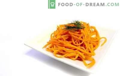 Cenouras coreanas reais em casa - lanche salgado. Receitas reais cenouras coreanas com aditivos
