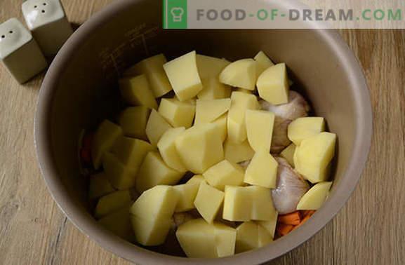 Como preparar batatas com frango em um fogão lento: um ótimo jantar em meia hora! Receita fotográfica passo a passo de ensopado de frango com batatas em um fogão lento