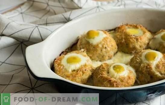 Ninhos de carne picada com ovo no forno - uma alternativa às almôndegas. Receitas de ninhos de carne picada com ovo no forno com vários recheios