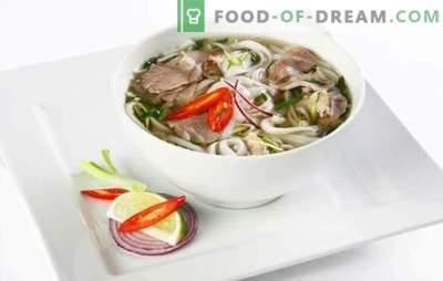 Fo Sopa - prato nacional vietnamita. Receitas de sopa Fo com frango, carne, peixe, marisco, cogumelos, macarrão de arroz