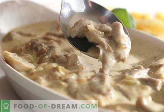Cogumelos com creme azedo - as melhores receitas. Como corretamente e saboroso cozinhar cogumelos com creme de leite.