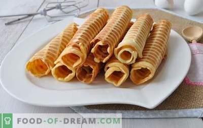 Waffles crocantes em waffle são preparados uma ou duas vezes! Receitas para waffles crocantes em um ferro de waffle em manteiga, leite, com amido