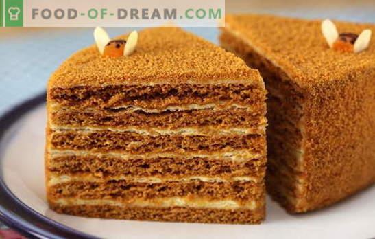 Bolo de mel com creme - concurso! Simples e complexo, com leite condensado e creme azedo: receitas de bolos de mel com creme
