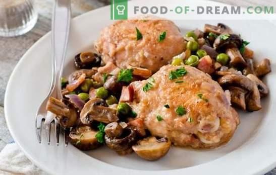 Frango com cogumelos é a melhor maneira de preparar carne para um acompanhamento. Como cozinhar o frango com cogumelos (receita passo a passo)