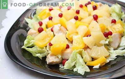 Uma obra-prima culinária exótica - uma salada com filé de frango e abacaxi. Receitas para saladas diferentes com filé de frango e abacaxi - fantasie!