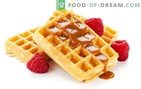 Os waffles macios batem com sua maciez! Receitas caseiras de waffles macios em um waffle ferro no leite, creme de leite, manteiga com diferentes recheios
