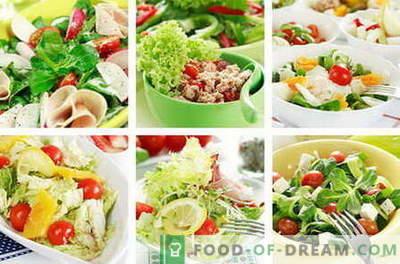 Saladas dietéticas - as melhores receitas. Como corretamente e dieta dieta saborosa preparada.