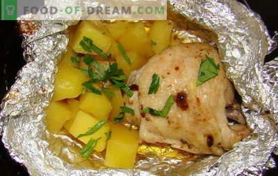 Frango com batatas no forno em papel alumínio - novas receitas. Como cozinhar o frango com batatas no forno em folha