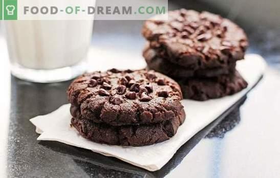 Cookies de Chocolate: Uma receita passo-a-passo para um delicioso cozimento. Cozinhando biscoitos de chocolate deliciosos e aromáticos usando receitas passo-a-passo