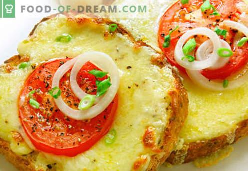 Sanduíches quentes com salsicha, queijo, ovo, tomate - as melhores receitas. Como preparar sanduíches quentes no forno, na panela e no microondas.