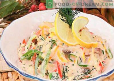 Salada com champignons fritos - as melhores receitas. Como preparar corretamente e deliciosamente uma salada de champignons fritos.