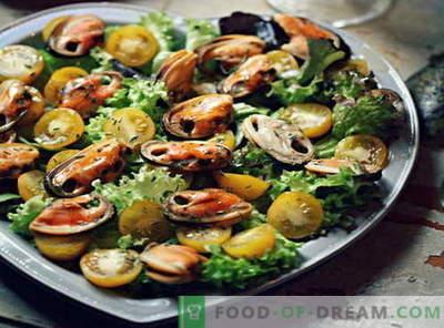 Salada de mexilhões - as melhores receitas. Como corretamente e saboroso salada de mexilhão cozinhar.