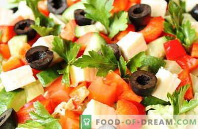 Saladas sem maionese são as melhores receitas. Como saladas adequadas e saborosas para cozinhar sem maionese.