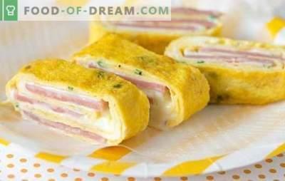 O rolo de presunto e queijo é o lanche perfeito. Receitas dos melhores rolos com presunto e queijo: em pão pita, puff, com cogumelos