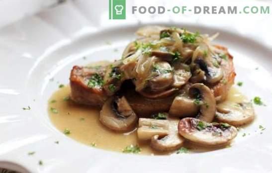 Costeletas de porco com cogumelos - esplendor de carne, sabor sobrenatural! As melhores receitas de deliciosas costeletas de porco com cogumelos
