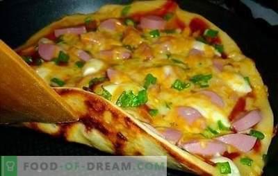 Recept voor pizza in de pan - origineel! De beste pizza-recepten in een pan met gist, vloeibaar of aardappeldeeg