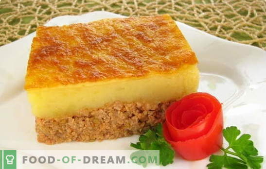 Caçarola com purê é um prato delicado para toda a família. Receitas comprovadas e novas para purê de batatas com carne picada, fígado, peixe e cogumelos