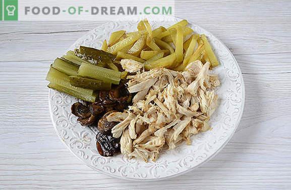 Um shawarma pita com filé de frango com cogumelos - fast food caseiro. Passo-a-passo da foto-receita do autor delicioso shawarma caseiro