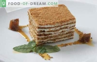 Bolo de mel e mel - muito gentil! Receitas simples de puff e biscoito sour-mel bolo com diferentes cremes