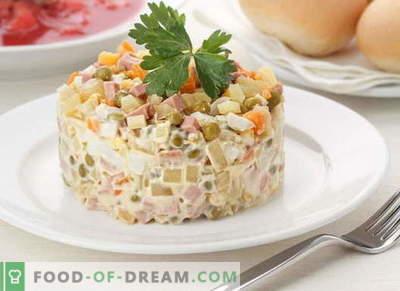 Receitas de salada Olivier com fotos: clássico, vegetariano, vintage, verão…