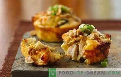 Muffins de frango - hambúrgueres suculentos! Receitas originais de muffins de frango para uma mesa festiva e diária