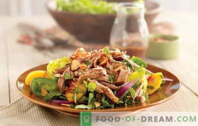 Uma salada simples com carne é um lanche saudável. Como preparar uma salada simples com frango, porco ou vaca