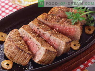 Meat in the pan - the best recipes. How to properly and tasty to cook meat in a pan.