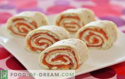 O rolo Lavash com salmão é um prato ideal para férias e dias de semana. Receitas e sutilezas de criar um saboroso pãozinho com salmão