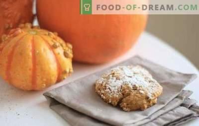 Biscoitos de abóbora são meus favoritos! Receitas de abóbora biscoitos ensolarados com passas, flocos, nozes, queijo cottage