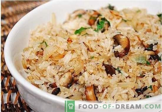 pilaf vegetariano com cogumelos - uma receita para pilaf vegetal magra