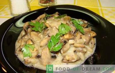 Champignons in sour cream is not only a julienne! Recipes for delicious champignons in sour cream: fried, stewed, baked