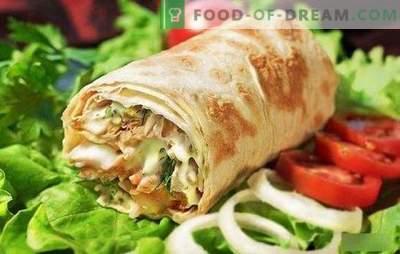 Shawarma com frango em pão pita: cozinhar fast food caseiro passo a passo! Seleção das melhores receitas de shawarma de frango (passo a passo e em detalhes)