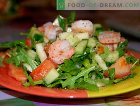 Saladas com rúcula e camarão - as cinco melhores receitas. Como preparar corretamente e deliciosamente saladas com rúcula e camarão.
