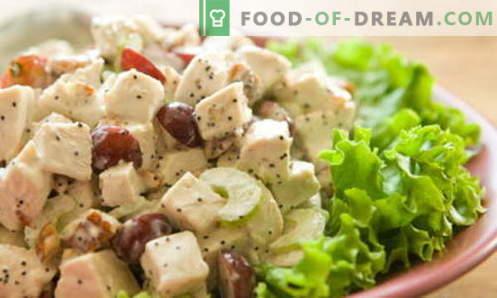 Salada de frango com uvas - as melhores receitas. Como cozinhar corretamente e deliciosamente uma salada de frango com uvas.