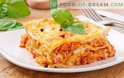 Lasanha à bolonhesa - o jantar será italiano! Receitas populares de lasanha nutritiva