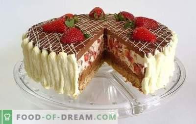 Bolo de chocolate com morangos - um sonho de um dente doce! Receitas incríveis bolos de chocolate com morangos para chá caseiro