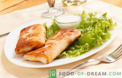 15 köstliche Rezepte zum Füllen aus Hüttenkäse für Pfannkuchen