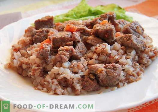 Trigo mourisco com carne - as melhores receitas. Como corretamente e saboroso trigo mourisco cozido com carne.