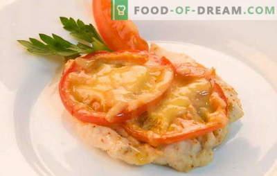Piščančji file s paradižniki in sirom v pečici. Kuhanje piščančjega fileja s paradižnikom in sirom v pečici - hitro, enostavno!