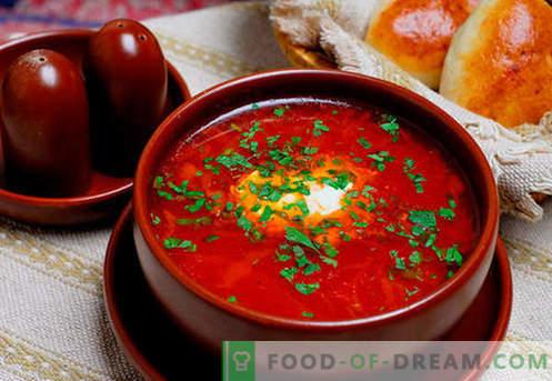 Borsch verde, vermelho, magro, ucraniano - as melhores receitas. Como corretamente e saboroso cozinhar sopa com feijão, cogumelos, alazão em um fogão lento.