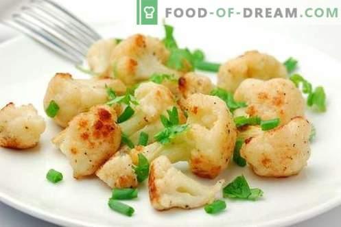 Couve-flor no forno - as melhores receitas. Como cozinhar corretamente e saboroso na couve-flor do forno.