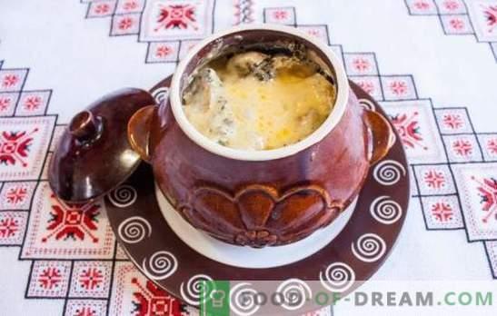 Assado em panelas com cogumelos - preparamos um prato saboroso e perfumado. Assado em panelas com cogumelos e carne no forno