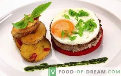 Bife com ovo: 2 em 1! Receitas de diferentes bifes com ovos de carne bovina, carne de porco, frango, arroz, beterraba, em francês