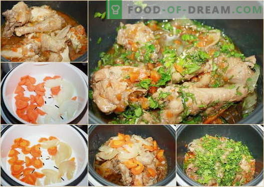 Cozido de frango em um fogão lento - as melhores receitas. Como cozinhar corretamente e saboroso em um frango ensopado fogão lento.