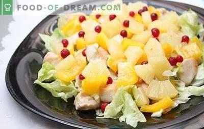 Salada com abacaxi e presunto: para umas férias com um toque exótico. Receitas combinações harmoniosas em uma salada com abacaxi e presunto
