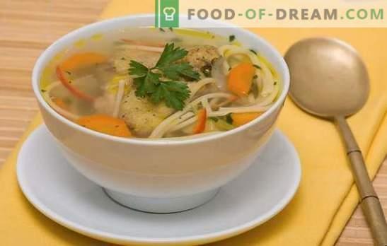 Sopa de macarrão de galinha - almoço leve, saboroso e saudável. Receitas de sopa de galinha com macarrão: com legumes, cogumelos, queijo